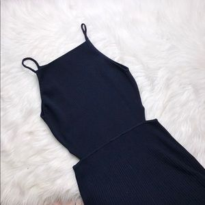 ELIZABETH AND JAMES NAVY RIBBED  HIGH NECK MAXI S